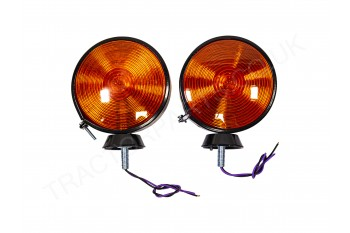 Pair of Round Lights Flasher Indicator Stalk Cab Warning Lamps 199954A1276 434 354 444 454 474 475 574 674 374 634 Fits Case International New Holland