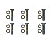 Six International Rear Wheel Rim Bolt 5/8 UNF Cup Head Square 2 7/8 Inch (71.5mm) Long Complete with Nut + Washer 406951R2