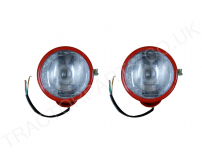 Tractor Red Steel Headlamps(Pair) for Vertical Mounting